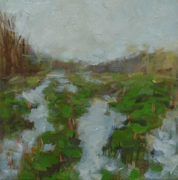 "Pond8"" x 8""  Oil on Canvas 2016"